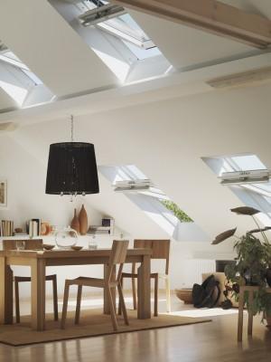 חלונות גג ציר אמצעי בחדר משפחה