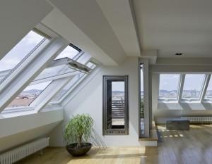 חלונות גג ציר אמצעי בלופט מעוצב
