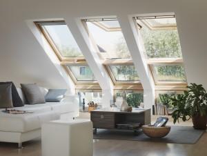 חלונות גג ציר כפול בסלון